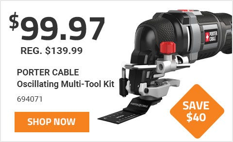 Porter Cable Oscillating Multi-Tool Kit On Sale until June 30th 2019. On sale for 99 Dollars and 97 Cents, a Savings of 40 Dollars.