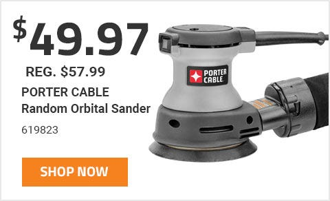 Porter Cable Random Orbit Sander On Sale For 49 Dollars and 97 Cents until June 30th 2019.