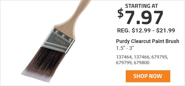 Purdy Clearcut Paint Brush 1.5 inch - 3 inch starting at 7 Dollars and 97 Cents