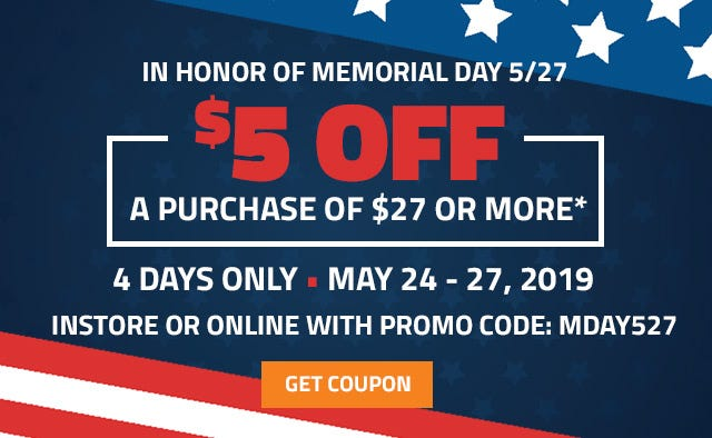 Get 5 dollars off a purchase of 27 dollars or more