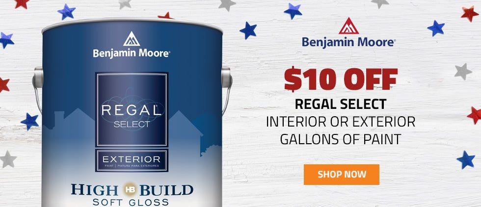 10 Dollars Off Regal Select Interior or Exterior Paint by the Gallon