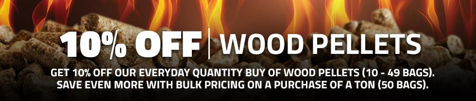 Get 10 percent off when you buy 10-49 bags of wood pellets