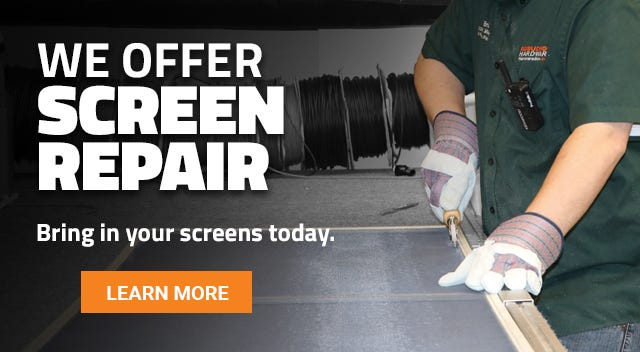 We can fix small holes in your screen or rescreen the whole frame. Bring your screens in today for repair.